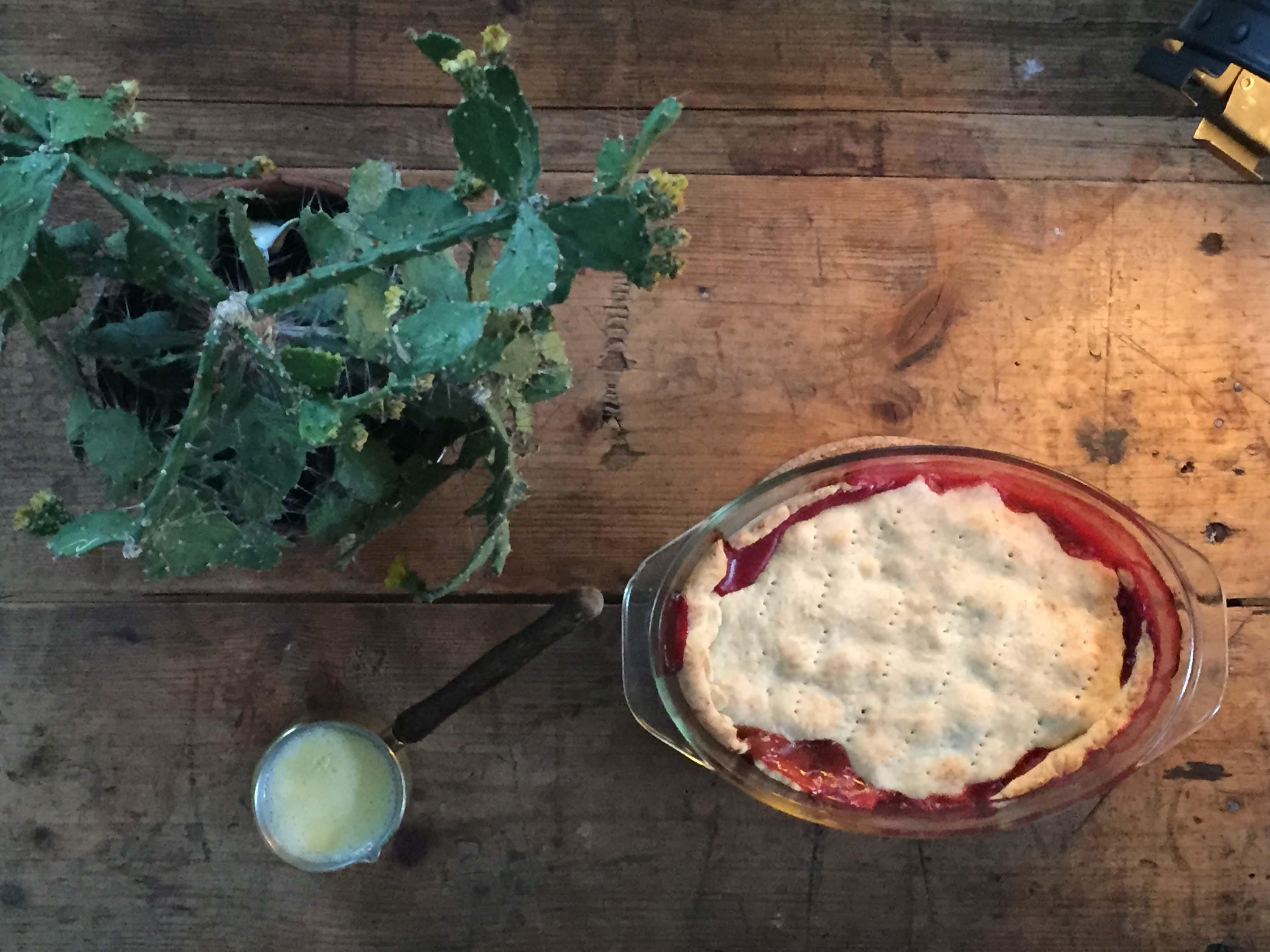 Metterschling's apple, rhubarb, rasberry pie