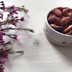 self roasted almonds and chocolate prezels